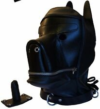 REAL LEATHER DOG MASK PUPPYPLAY HOOD/MASK & MOUTH PLUG BDSM FREE P&P (UK)