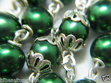 † HEAVY VINTAGE SIGNED STERLING DOUBLE RING CAPPED METALLIC GREEN GLASS ROSARY †