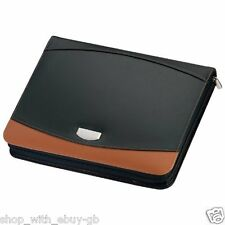 Crisma A4 Zipped Bonded Leather Black & Brown Writing Case Conference Folder