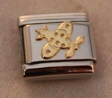 AIRPLANE-AUTHENTIC Nomination Bracelet Charm-Stainless Steel w/18k gold