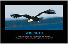 STRENGTH - Art Print Poster Inspirational Christian Motivational Bible Scripture