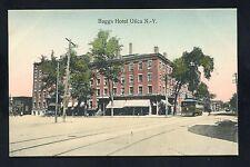early postcard Baggs Hotel trolley train railroad Utica NEW YORK Oneida County