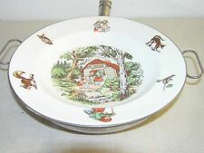 VINTAGE DUTCH CHILDREN FOOD WARMER PORCELAIN WITH PICTURE OF A FAIRY TALE.