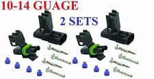 (TWO) 10-12-14 Guage 2 Pin Position Terminal Weather Pack WeatherPack Connectors