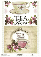 Rice Paper for Decoupage Scrapbooking, Tea Time Cup Roses Note Sheet ITD R492