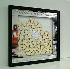 Personalised Mirror / Wooden Wedding Drop Box Hearts Guest Book Alternative 1g