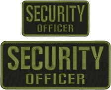 SECURITY OFFICER embroidery patches 4x10 and 3X6 hook on back BLK/OD GREEN