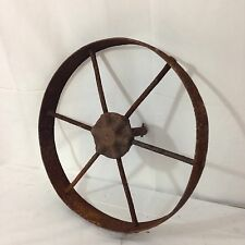 "VINTAGE ANTIQUE 15 .5"" 6 SPOKE WHEEL TRACTOR CART PRIMITIVE BARN FARM  RUSTIC"