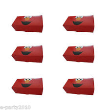 SESAME STREET ELMO FAVOR BOXES (6) ~ 1st Birthday Party Supplies Treat Goody Red
