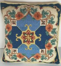 Vintage Needlepoint Pillow Floral Flowers Leaves Blue Yellow Throw Toss Decor