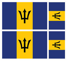 4 X BARBADOS FLAG VINYL CAR VAN IPAD LAPTOP STICKER