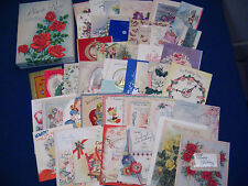 LOT of 41 VINTAGE GREETING CARDS from 1940s – 1950s with BOX