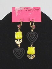 Betsey Johnson Goldtone WONDERLAND Yellow Tulip Black Heart Mismatch Earrings