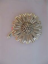 Vintage Sarah Coventry Chunky Silver Tone Flower Brooch 8136