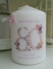 Birthday gift candle 18th 21st 30th 40th 50th 60th 70th 80th 90th Personalised
