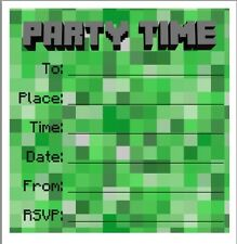 Festa/Compleanno Inviti. 5 Pack. IDEALE per i fan Minecraft!