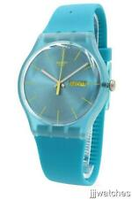 New Swatch Turquoise Rebel Silicone Band Day Date Watch 42mm SUOL700 $75