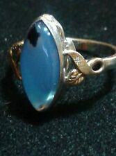 ANTIQUE CLARKS & COOMBS 1910'S Moss Agate Sterling Silver & 10K GF Ring SZ 7 US