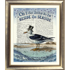 ART PRINT ON ORIGINAL ANTIQUE BOOK PAGE Seagull picture Nautical Sea seaside old