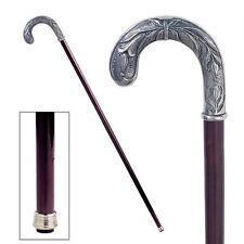 Solid Italian Pewter Beau Crook Handle Polished Hardwood Cane Walking Stick