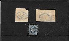 Ex Colonias Españolas. Tres sellos con matasellos azul