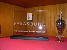 PARASOUND ETCHED GLASS SIGN W/BLACK OAK BASE
