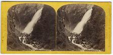 Photo stéréo Suisse Alpes 1870 chutes de Fatschbach Montagne par W. England