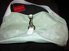 DOONEY & BOURKE INITIAL GREEN & WHITE LEATHER TRIM LARGE LOCK SAC HOBO. NEW!
