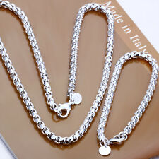 925Sterling  Silver Solid Silver New Round Grid Chains Necklace Bracelet S058