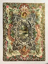 Vintage 1890s Valentine's Day Greeting Card-Silver Paper Lace Pink Ribbons Angel