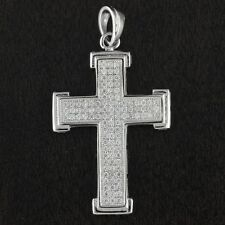 Womens Solid 925 Sterling Silver CZ Micro Pave Cross Pendant 30mm Length