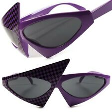 Purple Checkers Unique Vintage Retro Funky Party Sexy Womens Cat Eye Sunglasses