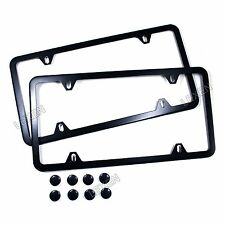 2PCS SLIM BLACK STAINLESS STEEL LICENSE PLATE FRAME SCREW CAP /SLIM 4 HOLE BF-2