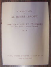 CATALOGUE DE VENTE COLLECTION HENRI LEROUX PORCELAINES & FAIENCES DROUOT 1968