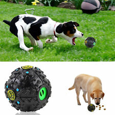 Pet Dog Cat Food Dispenser Squeaky Giggle Quack Sound Training Toy Chew Ball UL