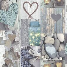 RUSTIC HEART WALLPAPER - NATURAL - ARTHOUSE 669600