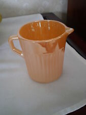 PEACH LUSTER CREAMER - ANCHOR HOCKNG - FIRE KING - RIBBED -