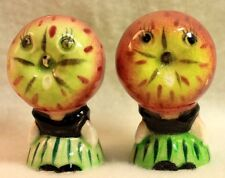 Vintage Apple Face Salt & Pepper Shakers Anthropomorphic Ceramic Japan