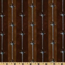 Fabric Pirates & Indians Sword Stripe on Brown Cotton (3 Yard +or- an inch)
