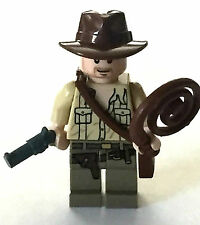 *NEW* Lego Minifig Indiana Jones TAN TORSO with Gun Coiled Whip