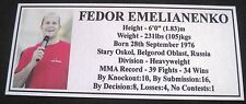 "MMA FEDOR EMELIANENKO Champion Silver Photo Plaque ""FREE POSTAGE"""
