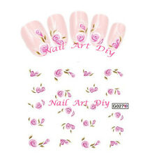20 stickers nail art water transfer -FLOWERS-unghie adesivi TATTOO Fiori Rosa