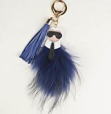 Genuine Blue Indigo Fur Key Chain Ring Bag Charm Karlito Monster Karl Doll Pom