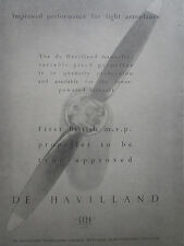 6/1947 PUB DE HAVILLAND MANUALLY VARIABLE PITCH PROPELLERS HELICES ORIGINAL AD