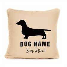 Personalised Dachshund Cushion Home Decor Sits Here Large Luxury Dog Lover Gift