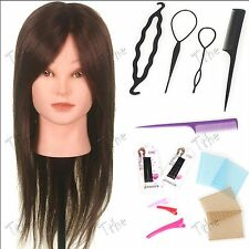 "90% 22"" Human Hair Training doll Head practice Hairdressing Mannequin +Braid New"