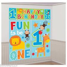 1st Birthday Boy Scene Setter Party Wall Scene Decorations Animals Jungle Banner