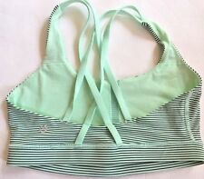 LULULEMON ENERGY BRA SPORTS Fresh Teal Hyper Stripe Green Black size 8 EUC Run