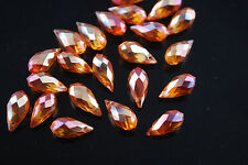 Bulk 30Ps Wine Red Glass Crystal Faceted Teardrop Pendant 6x12mm Spacer Findings
