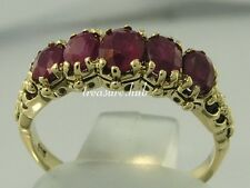R128- Genuine 9ct 9K Solid Gold NATURAL Ruby Bridge Ring Anniversary size N